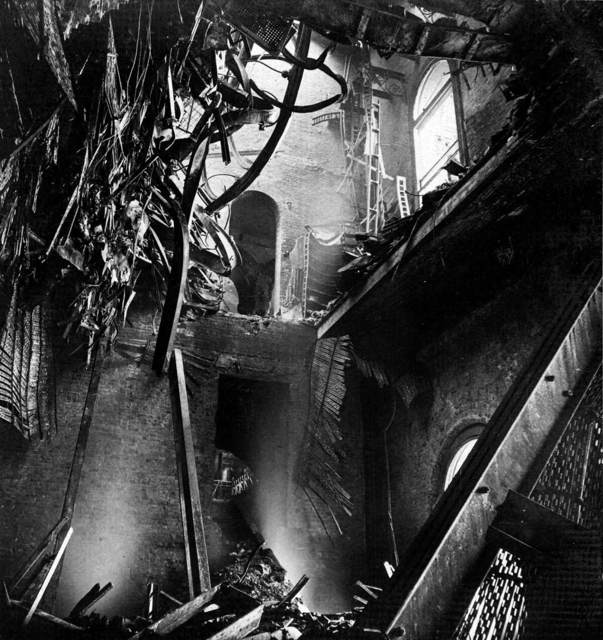 Interior of the State Capitol following the March 29, 1911 fire in Albany.