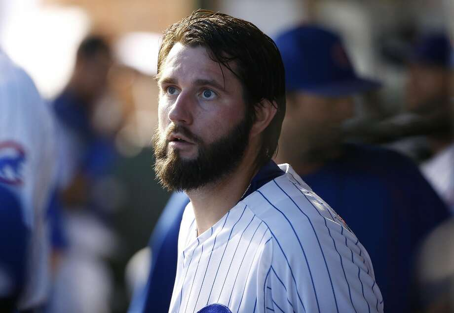 Chicago Cubs starter Jason Hammel looks around before a baseball game against the Atlanta Braves Thursday, July 7, 2016, in Chicago. (AP Photo/Nam Y. Huh) Photo: Nam Y. Huh, Associated Press