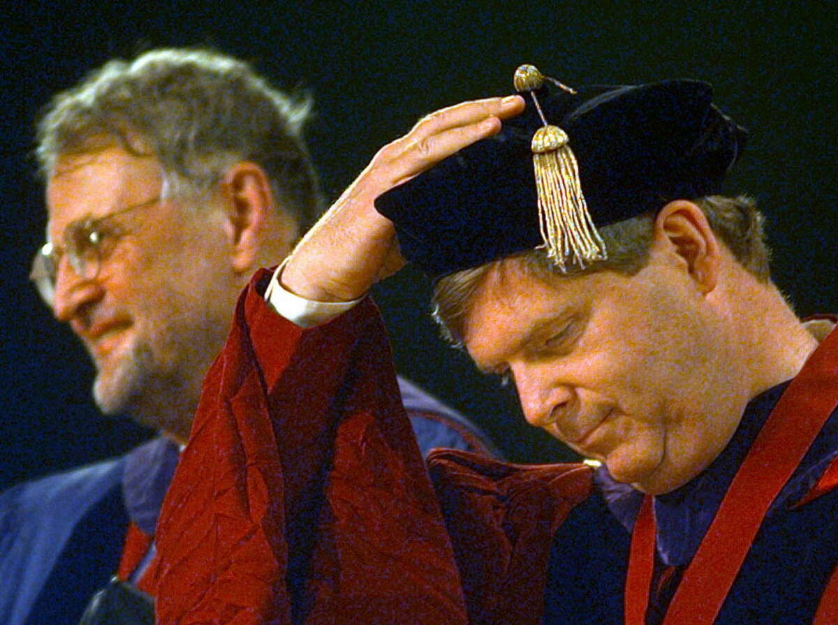 Times Union photo by STEVE JACOBS, 5/26/01, Albany,NY-- HONORED -- Governor of the State of Iowa, Thomas Vilsack,right, acknowledges the students during the Albany Law Shool commencement ceremony at the Convention Center, Saturday, may 26,2001 ( for labbe story) 1 of 2 photos