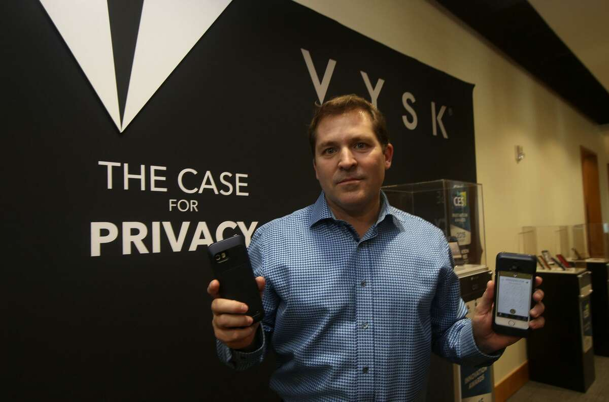 Vysk Communications CEO Victor Cocchia, in this 2015 photo, shows the company's smartphone case that's designed to prevent eavesdropping and hacking.