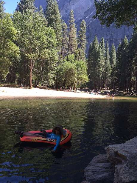 Columnist Vanessa Hua afloat at Yosemite Photo: Vanessa Hua, Aimee Phan