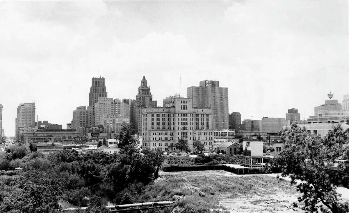Downtown Houston skyline, circa 1956.