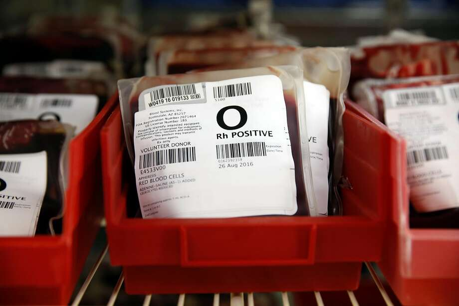 Rows of O+ blood units at Blood Centers of the Pacific in San Francisco. Photo: Connor Radnovich, The Chronicle
