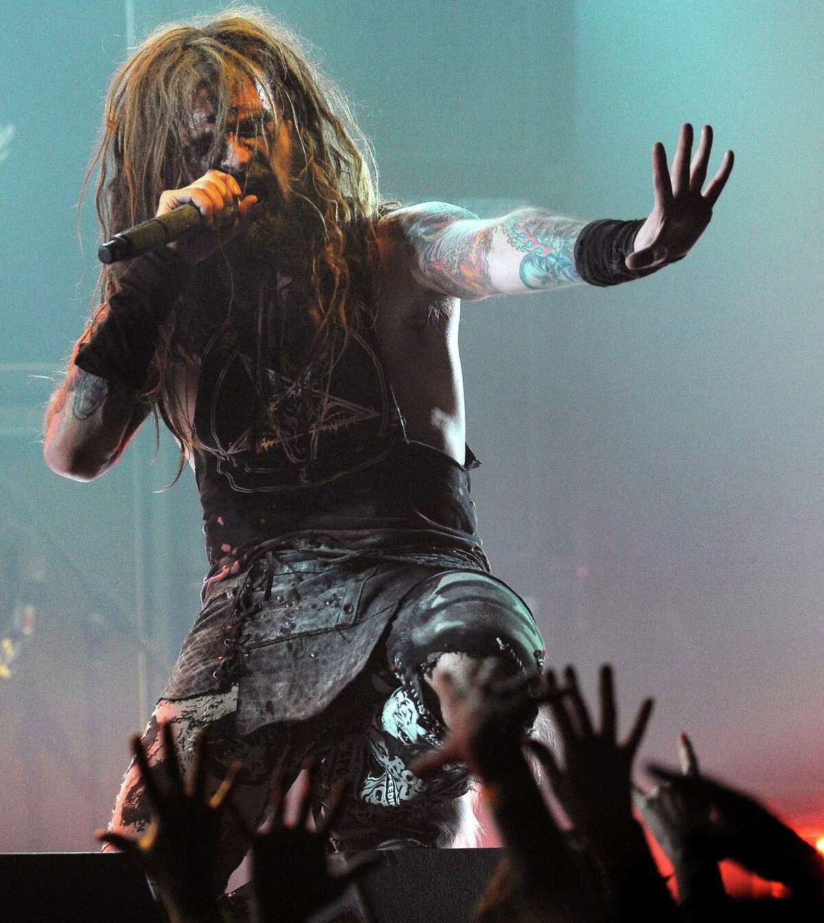 FILE-- This April 8, 2010 file photograph shows singer Rob Zombie as he performs during the second annual Revolver Golden Gods Awards in Los Angeles. The town of Woodbury, Conn. has taken steps to reduce noise following complaints from Zombie and his wife about a skate park near their home in the small Litchfield County community. (AP Photo/Chris Pizzello) ORG XMIT: BX403