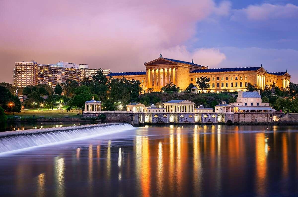 Afterglow at the Philadelphia Museum of Art, Pennsylvania, America.