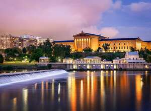 Afterglow at the Philadelphia Museum of Art, Pennsylvania, America.
