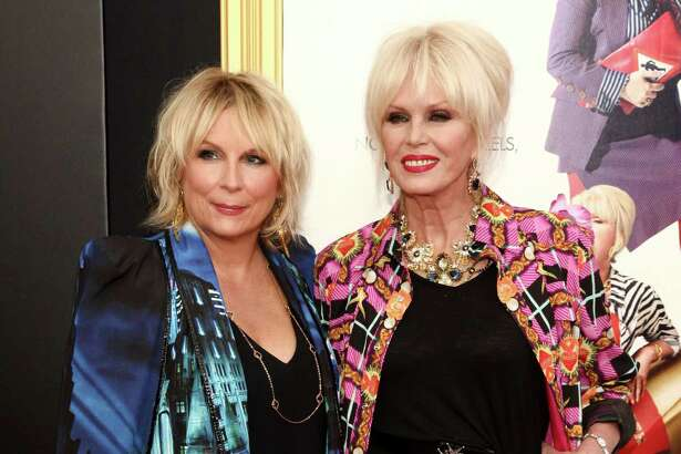 "Jennifer Saunders, left, and Joanna Lumley, attend the premiere of ""Absolutely Fabulous: The Movie"" at the SVA Theatre on Monday, July 18, 2016, in New York. (Photo by Andy Kropa/Invision/AP) ORG XMIT: NYAK103"