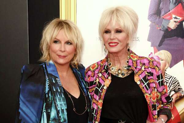 """Jennifer Saunders, left, and Joanna Lumley, attend the premiere of """"Absolutely Fabulous: The Movie"""" at the SVA Theatre on Monday, July 18, 2016, in New York. (Photo by Andy Kropa/Invision/AP) ORG XMIT: NYAK103"""