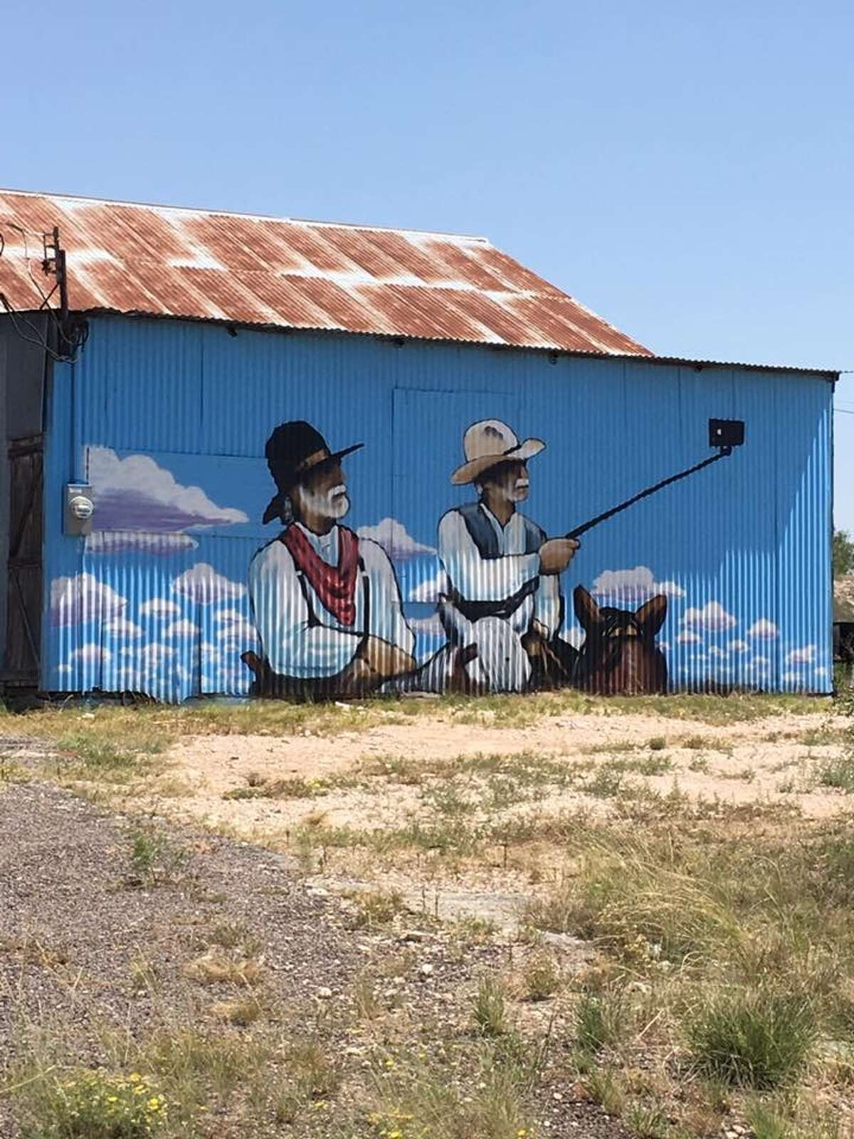 Rankin Mayor Brandon Brown is the owner of a barn with this mural painted by San Antonio artist Matthew Tumlinson.