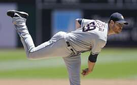 Houston Astros pitcher Doug Fister works against the Oakland Athletics in the first inning of a baseball game Wednesday, July 20, 2016, in Oakland, Calif. (AP Photo/Ben Margot)