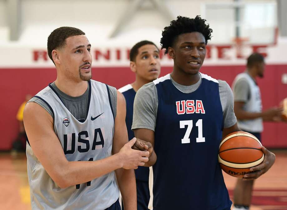 Warriors guard Klay Thompson (right) practices with Select team member Stanley Johnson in Las Vegas on Monday. Photo: Ethan Miller, Getty Images
