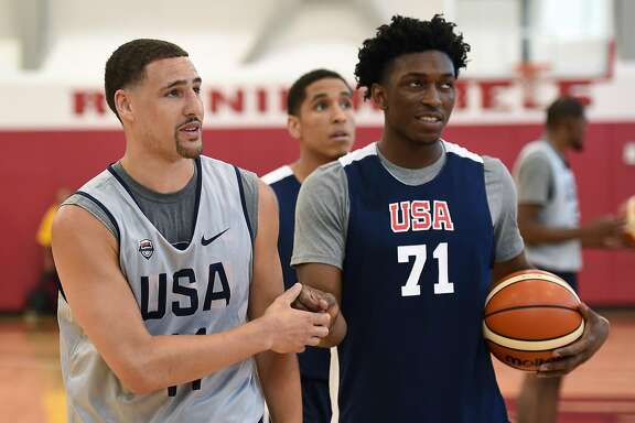 LAS VEGAS, NV - JULY 18:  Klay Thompson #11 of the 2016 USA Basketball Men's National Team and Stanley Johnson #71 of the 2016 USA Basketball Select Team stand on the court during a practice session at the Mendenhall Center on July 18, 2016 in Las Vegas, Nevada.  (Photo by Ethan Miller/Getty Images)