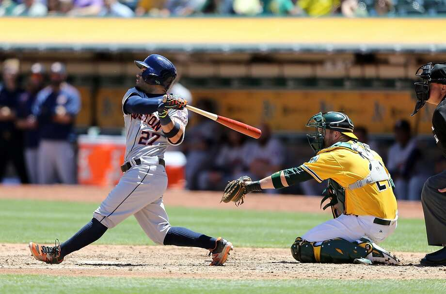 OAKLAND, CA - JULY 20: Jose Altuve #27 of the Houston Astros flies out in the top of the fourth inning against the Oakland Athletics at the Oakland-Alameda Coliseum on July 20, 2016 in Oakland, California. (Photo by Don Feria/Getty Images) Photo: Don Feria, Getty Images