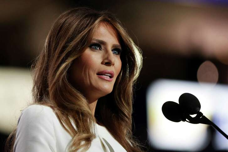 CLEVELAND, OH - JULY 18:  Melania Trump, wife of Presumptive Republican presidential nominee Donald Trump, delivers a speech on the first day of the Republican National Convention on July 18, 2016 at the Quicken Loans Arena in Cleveland, Ohio. An estimated 50,000 people are expected in Cleveland, including hundreds of protesters and members of the media. The four-day Republican National Convention kicks off on July 18.  (Photo by Chip Somodevilla/Getty Images)
