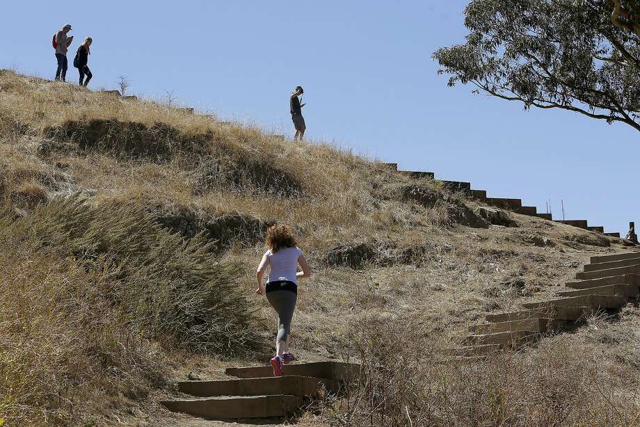 Hikers seen on Billy Goat Hill on Tuesday, July 19, 2016, in San Francisco, Calif. Photo: Liz Hafalia, The Chronicle