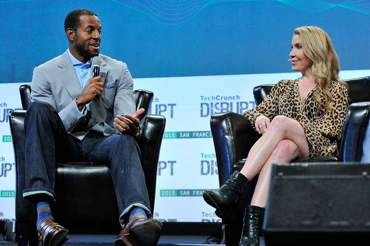 SAN FRANCISCO, CA - SEPTEMBER 22: Moderator Sarah Lane speaks with Andre Iguodala of the Golden State Warriors onstage during day two of TechCrunch Disrupt SF 2015 at Pier 70 on September 22, 2015 in San Francisco, California. (Photo by Steve Jennings/Getty Images for TechCrunch)