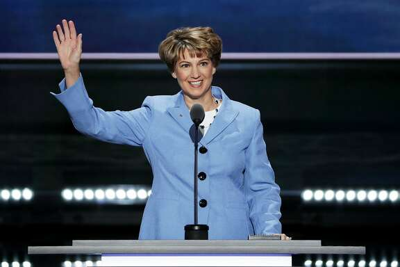 CLEVELAND, OH - JULY 20: Retired Col. Eileen Collins, former NASA Astronaut, waves to the crowd prior to delivering a speech on the third day of the Republican National Convention on July 20, 2016 at the Quicken Loans Arena in Cleveland, Ohio. Republican presidential candidate Donald Trump received the number of votes needed to secure the party's nomination. An estimated 50,000 people are expected in Cleveland, including hundreds of protesters and members of the media. The four-day Republican National Convention kicked off on July 18. (Photo by Alex Wong/Getty Images)
