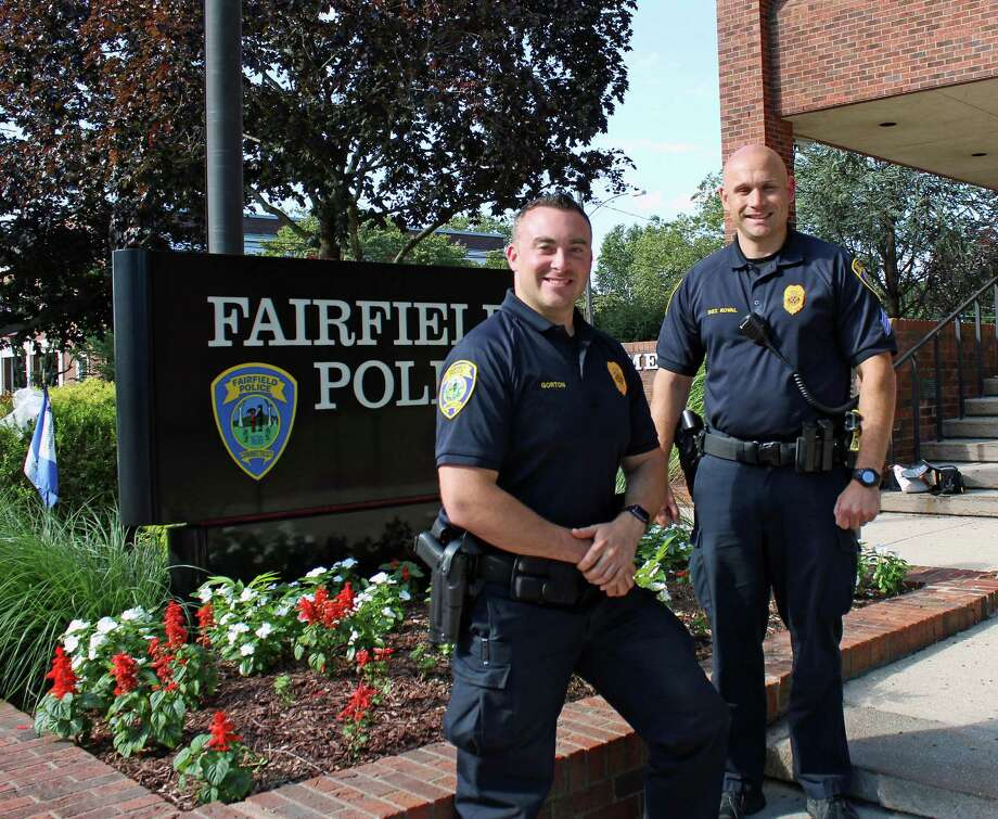 Officer Tom Gorton, left, and Sgt. Peter Koval, are members of the Fairfield Police Department's Crisis Intervention Team, changing the way the department responds to calls that involve mental health, behavioral, or substance abuse issues. Fairfield, CT. July 20,2016. Photo: Genevieve Reilly / Hearst Connecticut Media / Fairfield Citizen