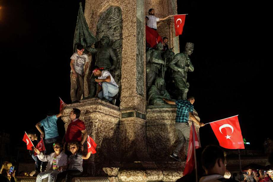 The Republic Monument in Taksim Square in Istanbul was the scene of a show of Turkish patriotism Wednesday night. President Recep Tayyip Erdogan announced a three-month state of emergency following Friday's failed coup. Photo: Chris McGrath, Staff / 2016 Getty Images