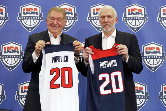 USA Basketball chairman Jerry Colangelo, left, is seeing the succession plan of Gregg Popovich's taking over the Olympic team in 2020 begin four years in advance as Popovich helps Mike Krzyzewski coach this year's team while also working with younger players who will be in the running for spots on that roster.
