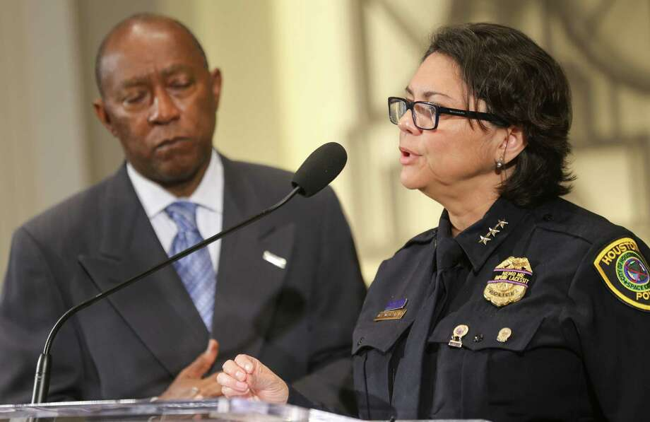 Mayor Sylvester Turner and Acting Houston Police Chief Martha Montalvo announce the release of the video of the police shooting of Alva Braziel, captured on the officers' body cameras.  Photo: Elizabeth Conley, MBI / Houston Chronicle