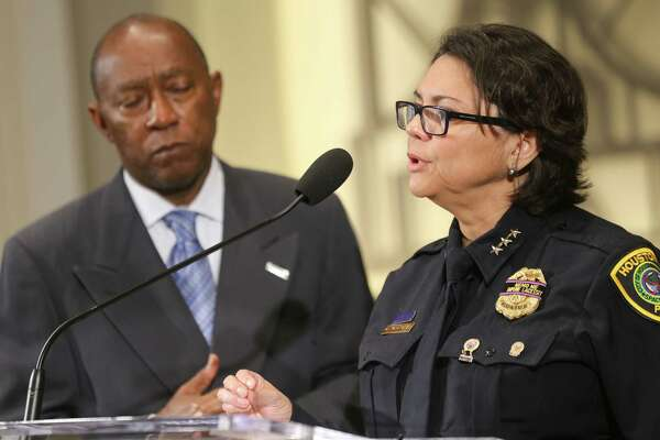 Mayor Sylvester Turner and Acting Houston Police Chief Martha Montalvo announce the release of the video of the police shooting of Alva Braziel, captured on the officers' body cameras.
