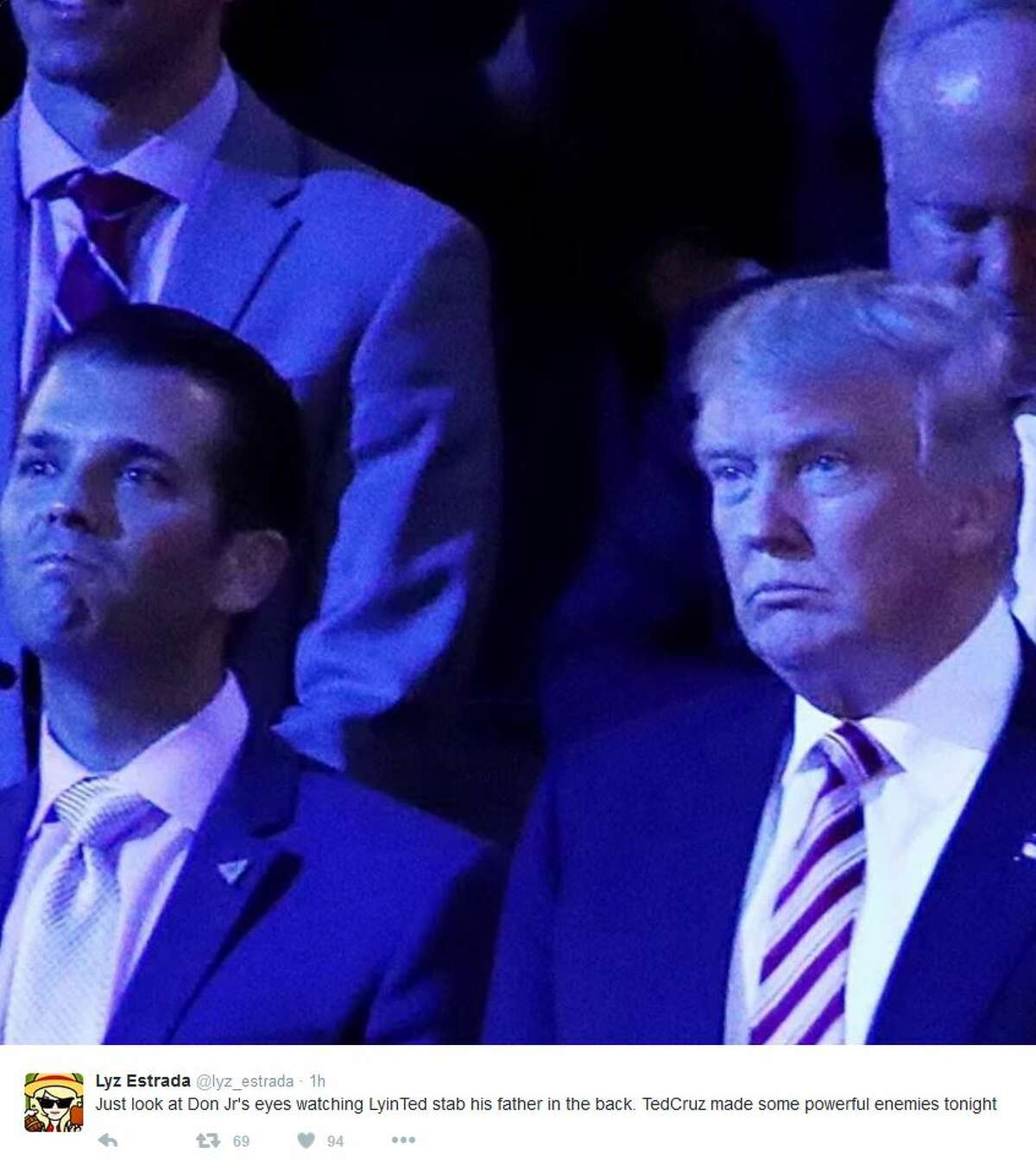 Just look at Don Jr's eyes watching Lyin' Ted stab his father in the back. Ted Cruz made some powerful enemies tonight. #RNCinCLE