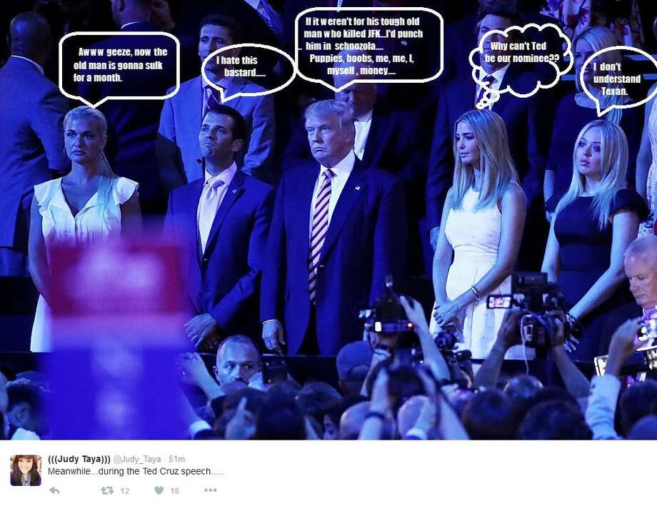Ted Cruz set social media ablaze when he failed to endorse Donald Trump at the Republican National Convention #RNCinCLEMeanwhile---during the Ted Cruz speech Photo: Twitter Screen Shots