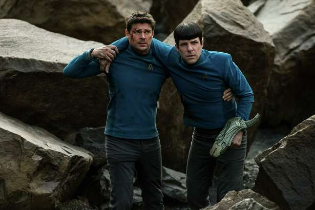 "Karl Urban portrays Bones (left) and Zachary Quinto is  Spock in   the autopiloted ""Star Trek Beyond."""