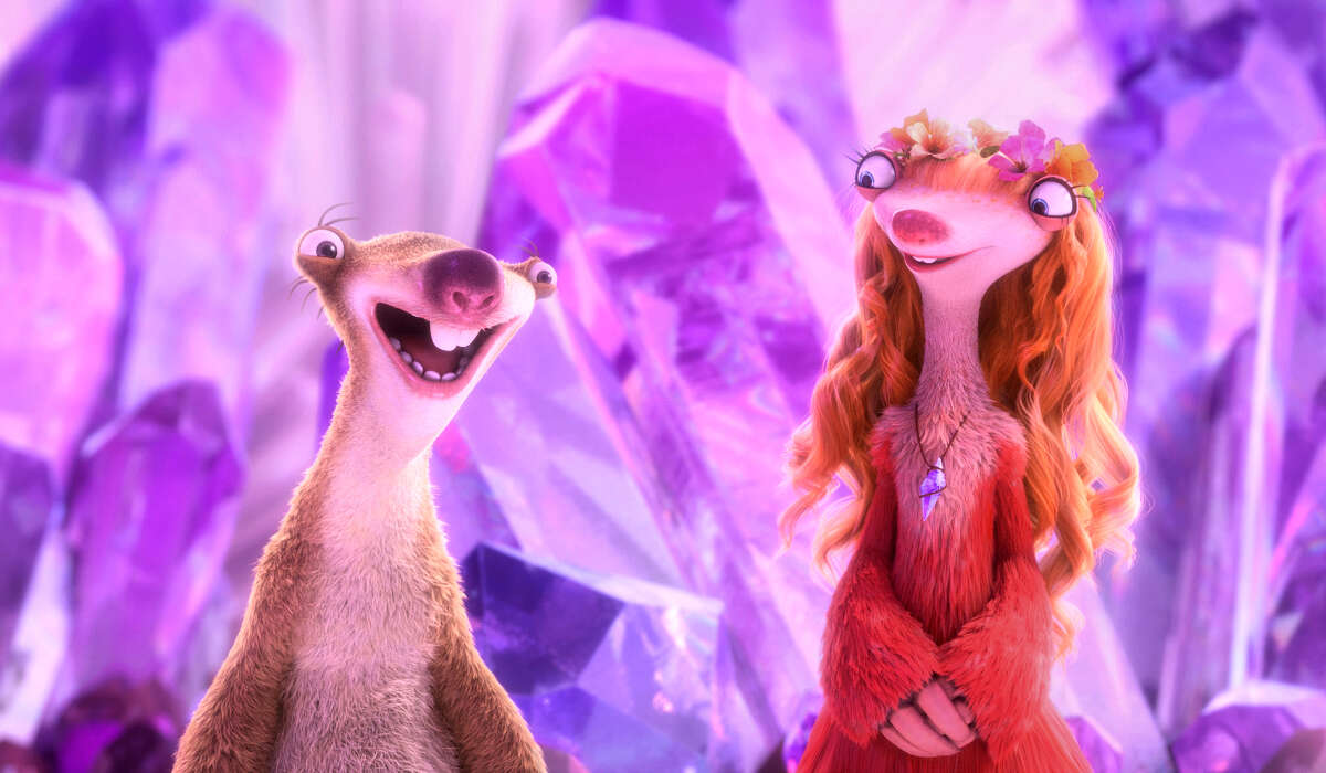 """Sid (voiced by John Leguizamo) meets an ethereal female sloth, Brooke (voiced by Jessie J), who somehow finds him irresistible, in """"Ice Age: Collision Course."""" MUST CREDIT: Blue Sky Studios-Twentieth Century Fox Film"""