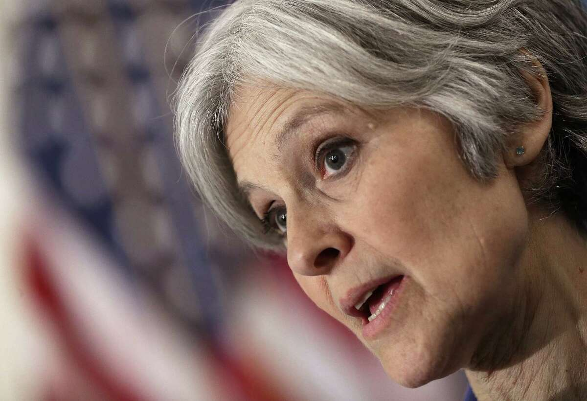 WASHINGTON, DC - FEBRUARY 06: Green Party presidential nominee Jill Stein speaks at the National Press Club February 6, 2015 in Washington, DC.