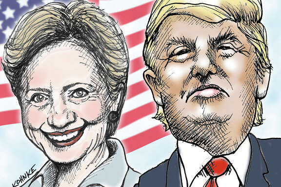 This artwork by Jennifer Kohnke refers to Hillary Clinton and Donald Trump facing off in the 2016 presidential election.