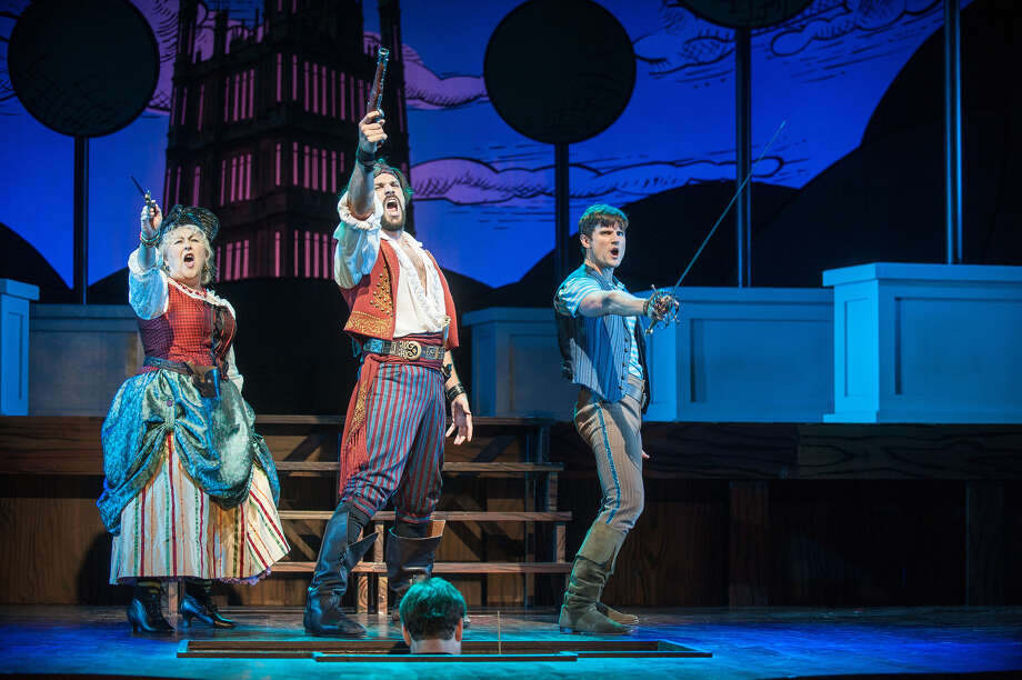"""From left, Jane Carr, Will Swenson and Kyle Dean Massey in """"The Pirates of Penzance"""" at Barrington Stage Company. (BSC publicity photo by Kevin Sprague.)"""