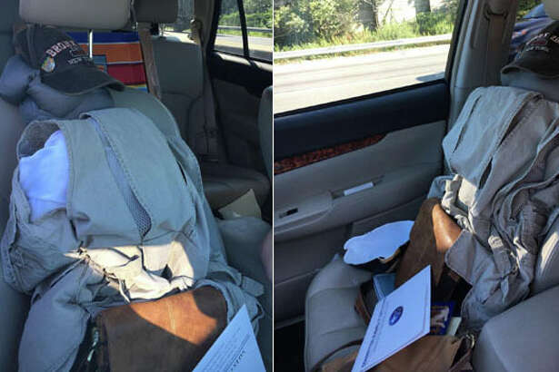 A woman driving in a  carpool lane in New York State used a dummy made with a pile of clothes topped with a baseball hat as a second passenger.