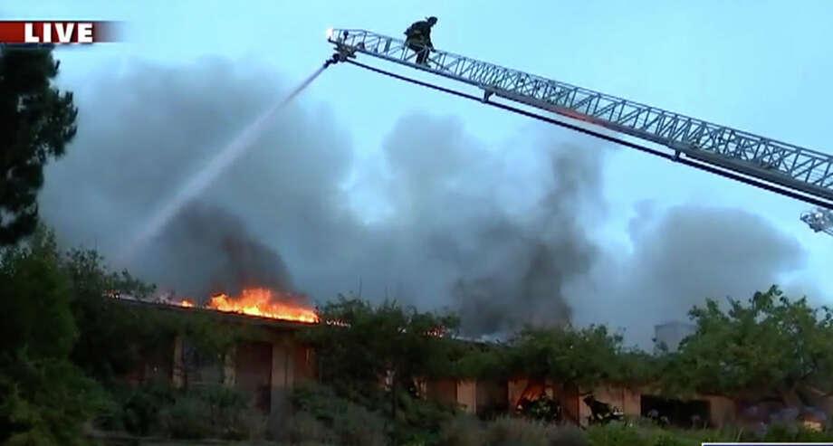 The Millbrae community center sustained major damage from a raging 4-alarm fire Thursday morning. Photo: KTVU