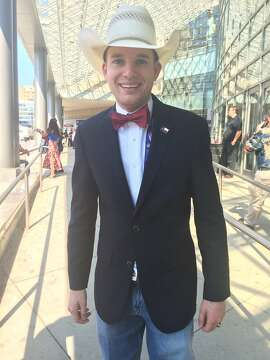 Colton Buckley, a Log Cabin Republican, is a Texas delegate at the Republican National Convention in Cleveland, Ohio, on July 19, 2016.