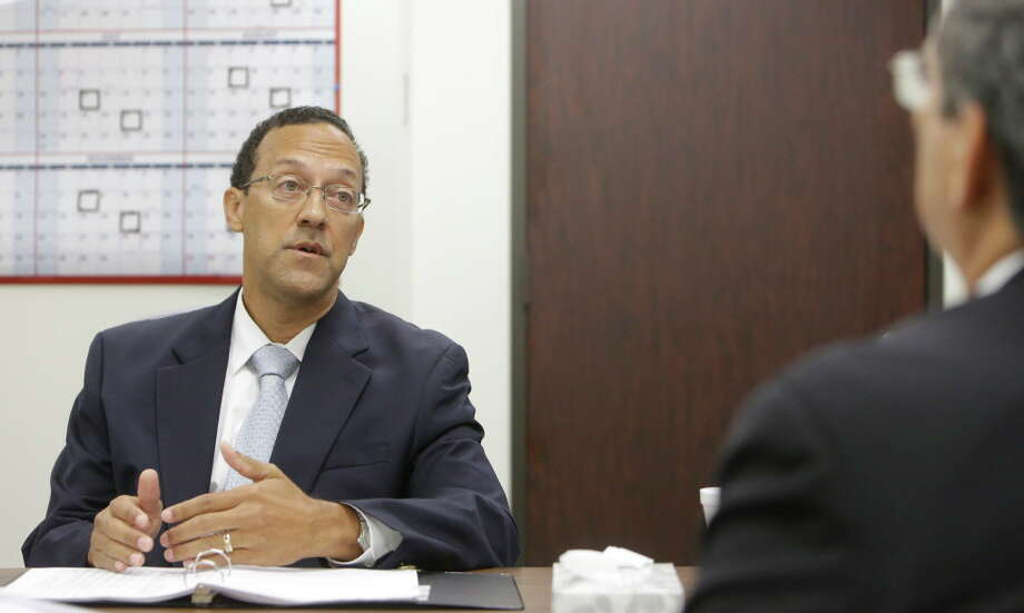 Craig Clopton, left, a former HCSO homicide Sgt. who was fired last year for having sexual contact with a witness in the fatal shooting of Deputy Darren Goforth, is questioned by Nick Turner, assistant county attorney, during a civil service commission Thursday, July 21, 2016, in Houston.  The commission upheld the sheriff's decision to terminate his employment. Photo: Melissa Phillip, Houston Chronicle / © 2016 Houston Chronicle