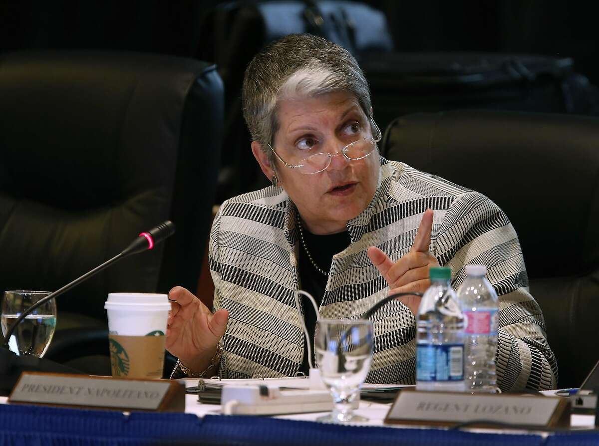 UC President Janet Napolitano comments on an amendment of a policy on outside professional activities of top university management officials at a meeting of the University of California Board of Regents in San Francisco, Calif. on Thursday, July 21, 2016.