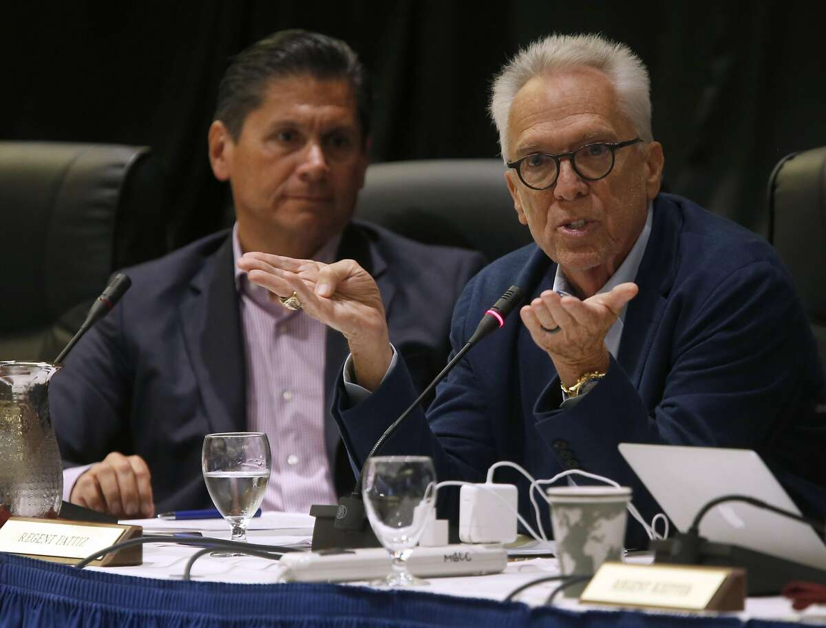 Norman Pattiz (right) comments on an amendment of a policy on outside professional activities of top university management officials at a meeting of the University of California Board of Regents in San Francisco, Calif. on Thursday, July 21, 2016.A lawsuit was filed against Pattiz stating the UC regent brandished a loaded weapon at an employee.