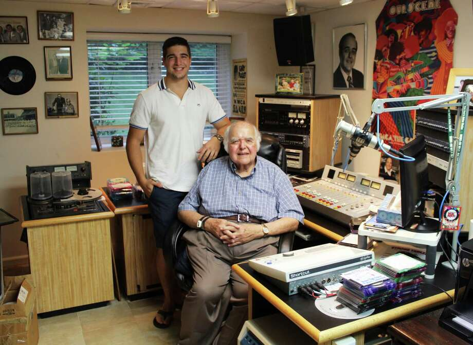 Kyle Baer and his grandfather, disc jockey and radio personality Ed Baer, began Westport Records last month . Photo: Laura Weiss / Hearst Connecticut Media / Westport News