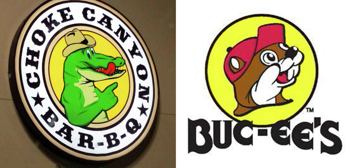 The sign to Choke Canyon Barbecue features a round, yellow background with the face of a smiling alligator. The owner's of the Buc-ee's convenience store chain say the logo is too similar to its logo, which also features a round, yellow background with a smiling beaver.