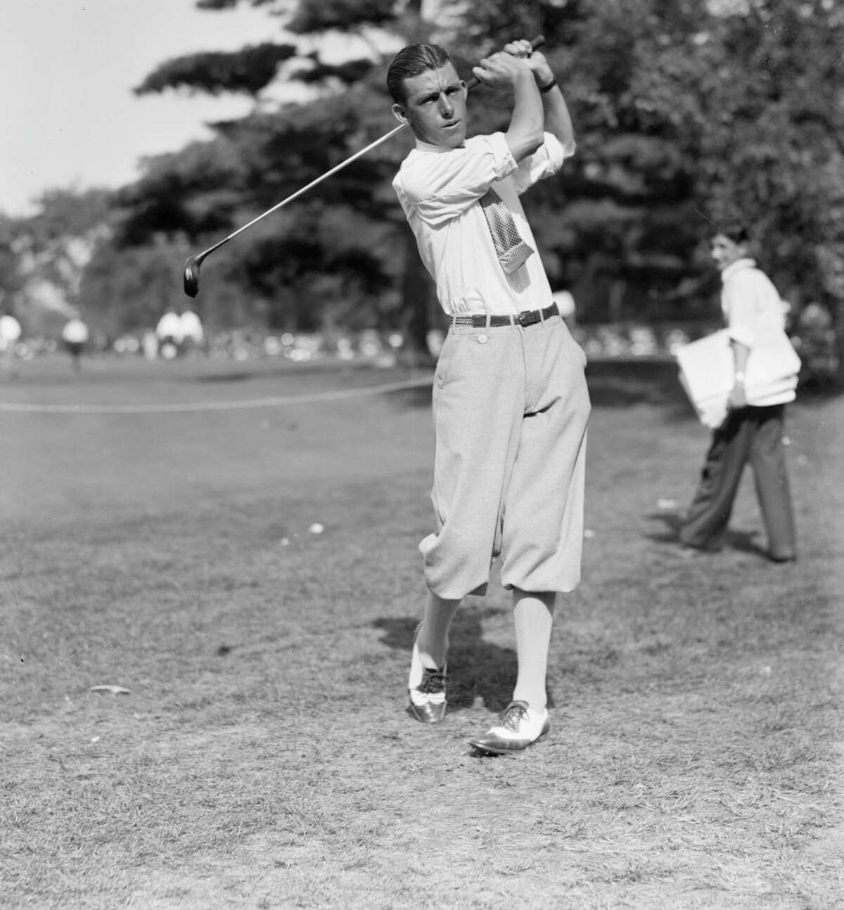 Tom Creavy of Albany drives the ball at the Professional Golfers' Association championship on Sept. 14, 1931. Image by © Bettmann/CORBIS