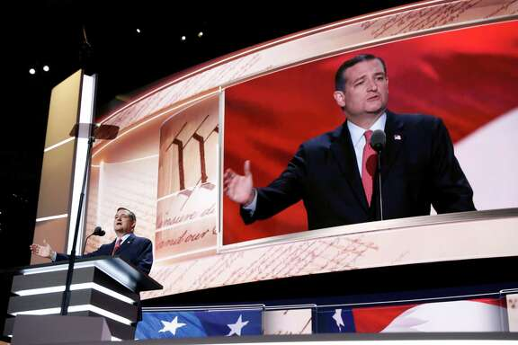 Sen. Ted Cruz, R-Tex., addresses the delegates during the third day session of the Republican National Convention in Cleveland, Wednesday, July 20, 2016.