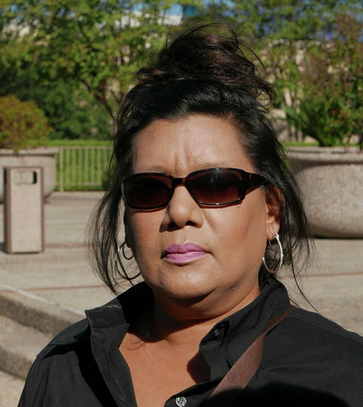 Linda Ann Perez, 47, a former clerk with the Texas Department of Public Safety, leaves the federal courthouse on Tuesday, November 3, 2015. She pleaded guilty to use of interstate facility in aid of illegal activity for issuing at least 144 fraudulent driver's licenses to undocumented immigrants.