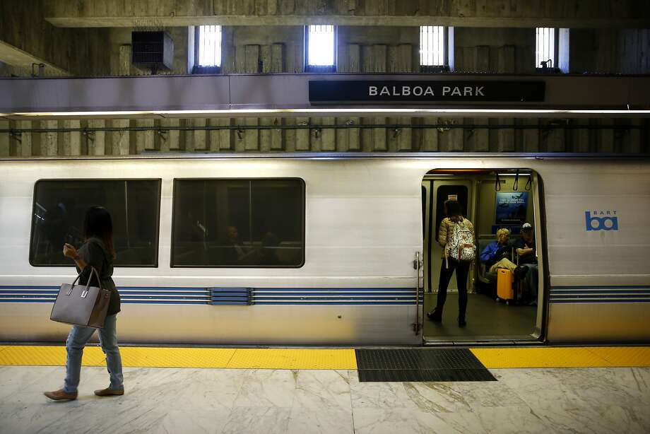 Passengers disembark and board a BART train at Balboa Park Station in San Francisco, California, on Thursday, July 21, 2016. Photo: Connor Radnovich, The Chronicle