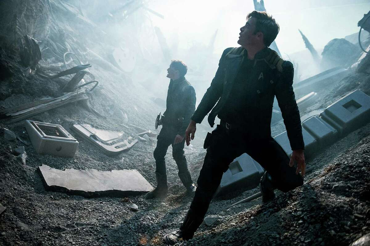 """In this image released by Paramount Pictures, Anton Yelchin, left, and Chris Pine appear in a scene from, """"Star Trek Beyond."""" (Kimberley French/Paramount Pictures via AP) ORG XMIT: NYET104"""