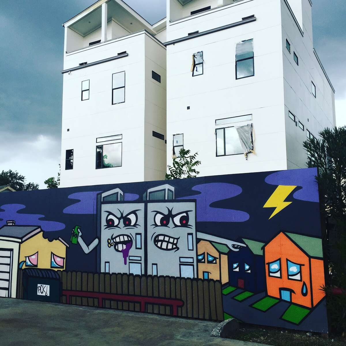 The fastest gentrified-zip codes since 2000 Houston artist Ackzilla targets Houston's gentrification with this monster-inspired mural outside of the Station Museum in Midtown.Scroll ahead to see which neighborhoods rank as the most gentrified in America since 2000 according to Rent Cafe up ahead.