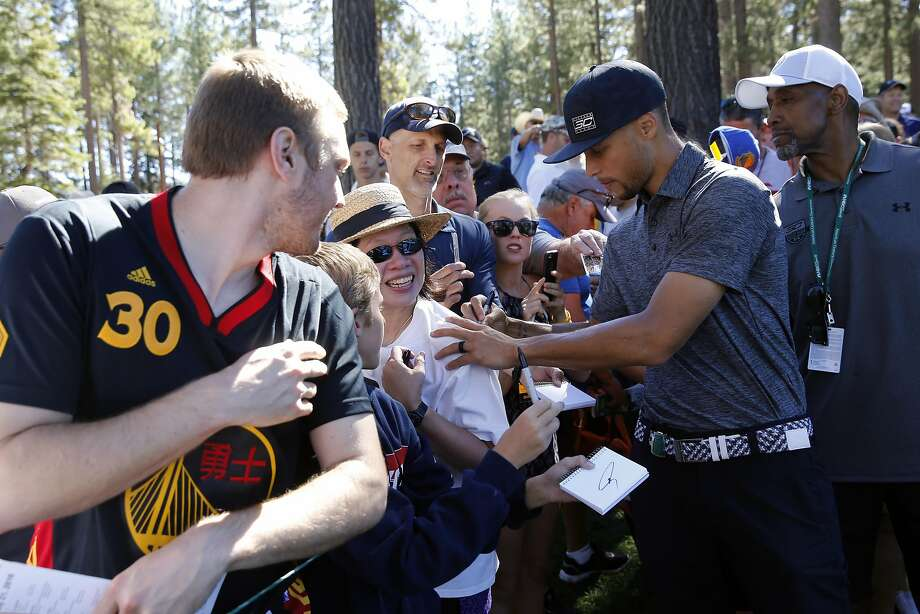 Golden State Warriors' Stephen Curry signs autographs during the 2016 American Century Celebrity-Amateur Tournament  in Lake Tahoe, Nevada, California, on Thurs. July 22, 2016. Photo: Michael Macor, The Chronicle