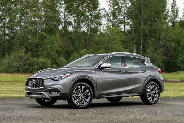 All-wheel-drive QX30s get roof rails, their own 18-inch aluminum alloy wheels and all-season tires, and have plenty of clearance between those run-flat tires and the fenders, thanks to the higher stance of the AWD over the FWD QX30s.