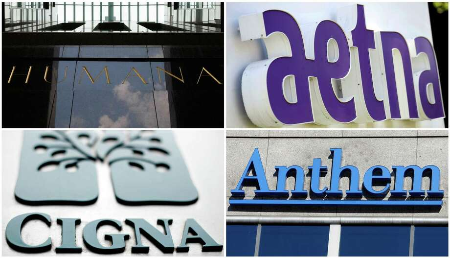 This photo combo shows signage for health insurers Humana Inc., Aetna Inc., Cigna Corp., and Anthem Inc. On Thursday, July 21, 2016, federal regulators said they are suing to stop two major health insurance mergers because they say the deals will increase health care costs for Americans and lower the quality of care they get. The Department of Justice said that the combinations of Aetna and Humana and Anthem and Cigna would hurt competition that restrains the price of coverage and reduce benefits, among other drawbacks. (AP Photo) Photo: Ed Reinke, Jessica Hill, Matt Rourke, Michael Conroy / Associated Press / AP